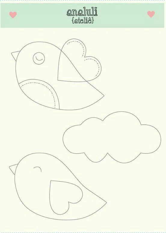 Dibujo, patrón, Aplicaciones infantil pájaros y nuve Uccellini