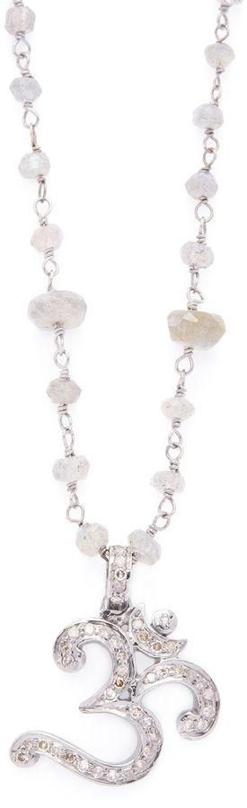 Bavna Women's Sterling Silver, Labradorite & 0.90 Total Ct. Champagne Diamond Om Pendant Necklace