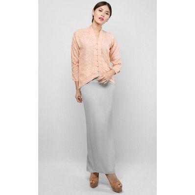 Batik Modern Kebaya Set in Orange and Grey