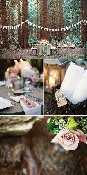 an outdoor woodland area converted into the most sweet reception at a wedding. So whimsically romantic!