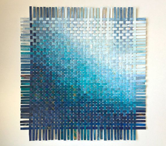Custom Abstract- 11x11- Paper Weaving- Made To Order- Original Mixed Media Art- Handwoven, Hand Painted- Modern