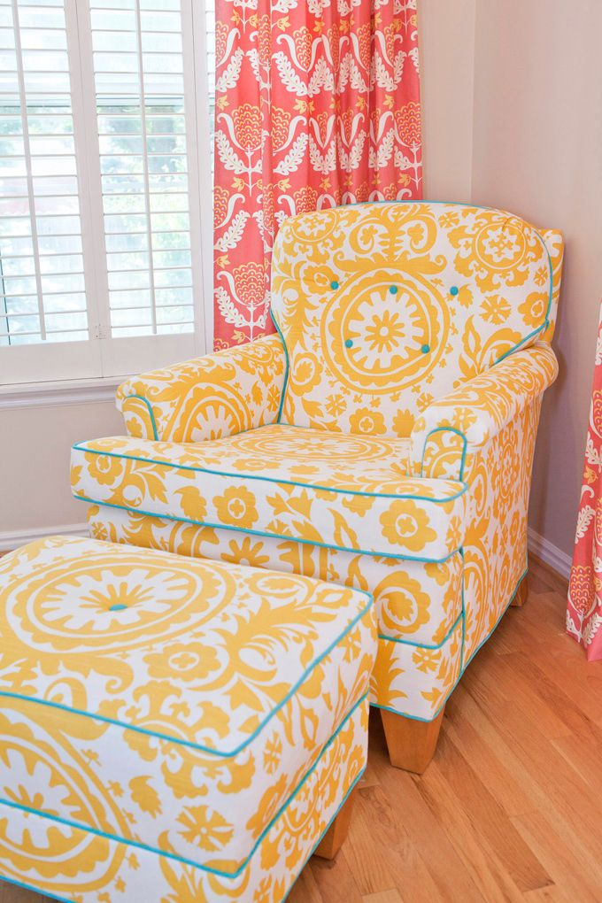 comfortable chair -- love the contrasting piping