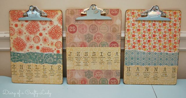 Diary of a Crafty Lady: Personalized Clip Boards