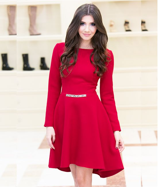 Lovely Miss Grey Red Occasion Dress