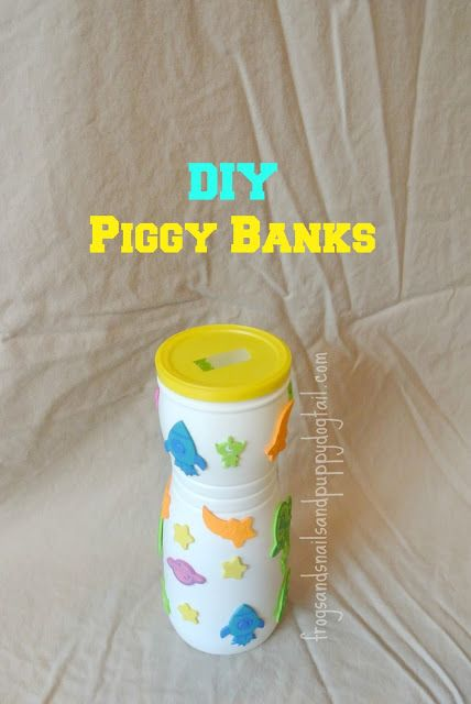 DIY or Homemade Piggy Banks by FSPDT Simple and fun kids / toddlers activity