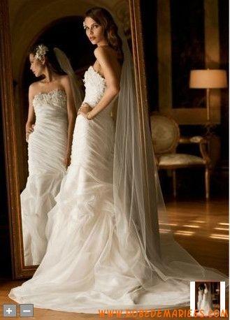 Robe de mariée sirène applique de fleurs organza