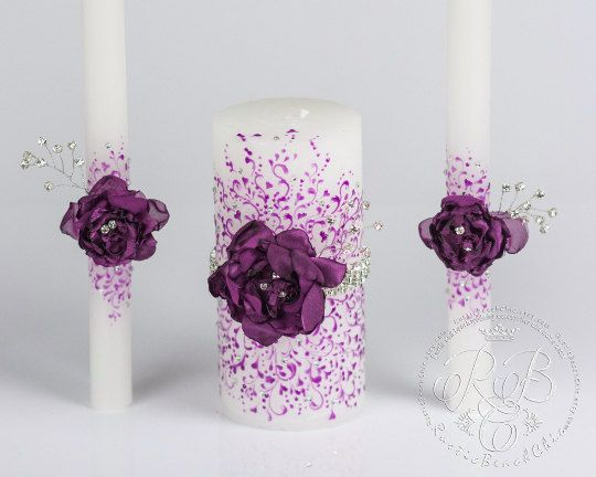 Purple wedding unity candles from the collection of lace, rhinestones and handmade flowers, violet, personalization votive candles, 3pcs AU$63.78