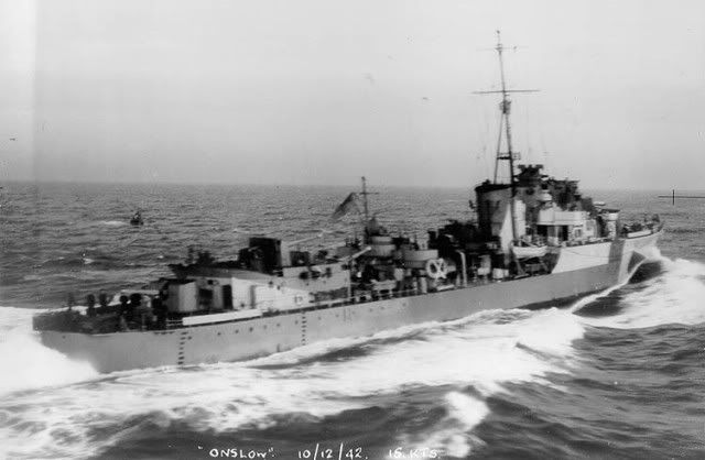 HMS Onslow was an O-class destroyer flotilla leader of the British Royal Navy. She was ordered from John Brown & Company at Clydebank, Glasgow on September 3, 1939. The ship was laid down on July 1, 1940 and launched on March 31, 1941. She was completed on October 8, 1941 at a cost of £416,942.