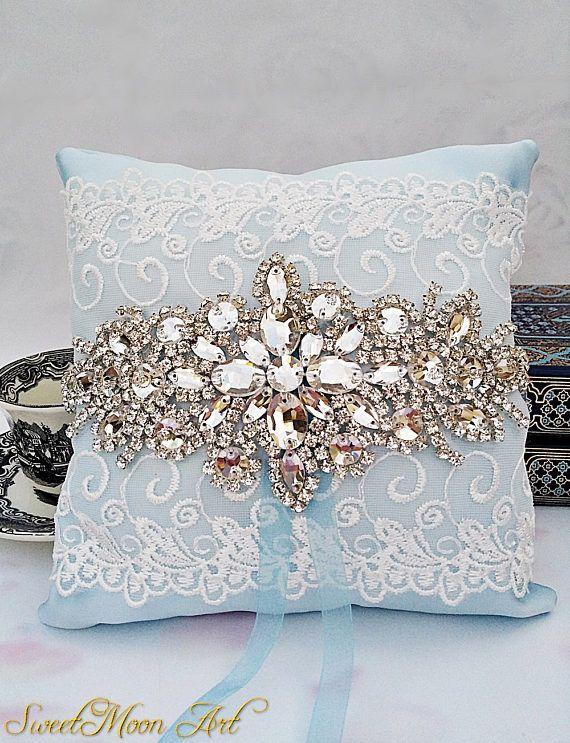Cojín boda azul algo azul cojín portador anillos almohada