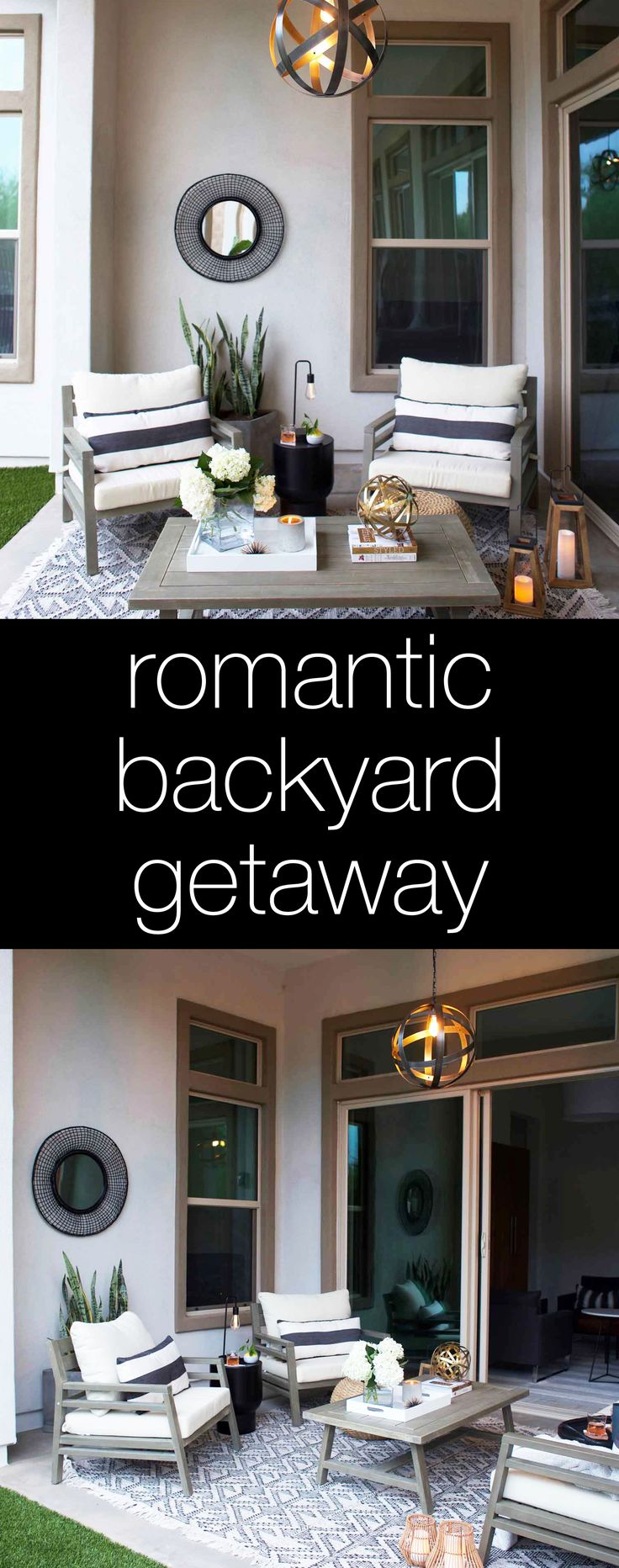 How to create a romantic backyard getaway and some tips and tricks for decorating outdoors.