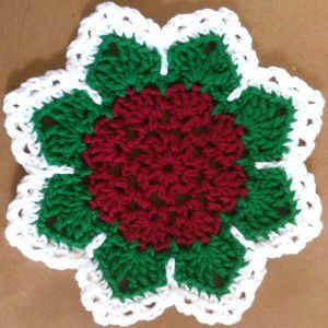 ~ Christmas Flower ~ Dishcloth or Hotpad....