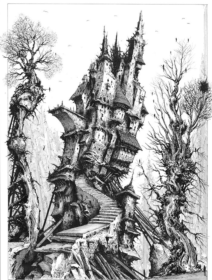 Tarot card - The Tower 2008  B/w pen -ink -illustration board. I thought it might be interesting to create a set of Tarot cards. I think there are twenty or so in the primary set.  I drew eight or nine  of them, then abandoned the project. It happens.