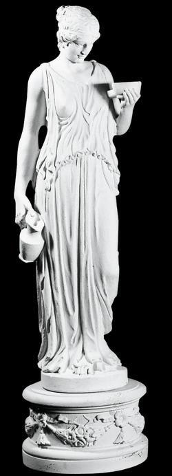 Hebe statue i marmor. Højde: 140 cm. Omkreds: 32 cm.