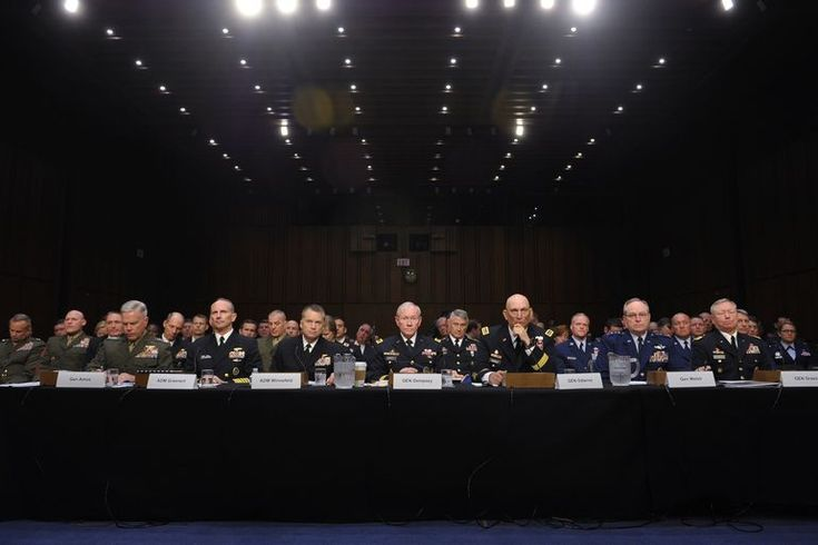 (L-R) Commandant of the Marine Corps, Chief of Naval Operations, Vice Chairman of the Joint Chiefs of Staff , Chairman of the Joint Chiefs of Staff, Chief of Staff of the Army,  Chief of Staff of the Air Force, and Chief of the National Guard Bureau appear before the Senate Armed Services Committee to testify on Defense Department proposals relating to military compensation May 6, 2014. Capital Hill Washington DC.