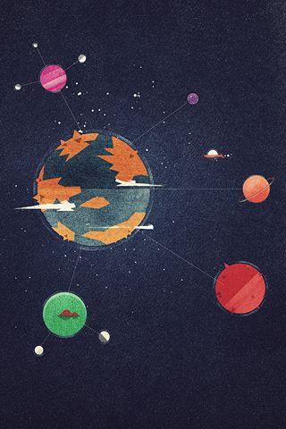 iPhone wallpapers | Poolga - Planets - Dan Matutina for Red Lemon Club