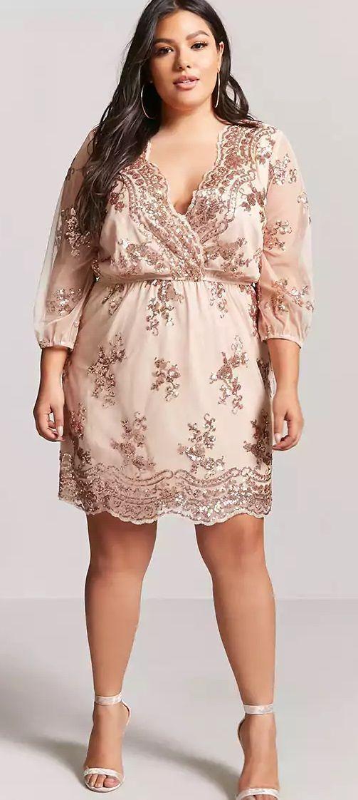 2498efd9007 Plus Size Rose Gold Sequin Dress - Plus Size Party Dress – Plus Size  Cocktail Dress  plussize  Plussizepartydress
