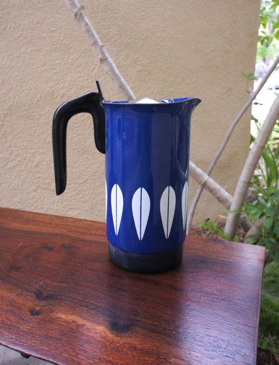Cathrineholm Dark Blue Lotus Coffee Maker by TheLionsDenStudio, $218.19