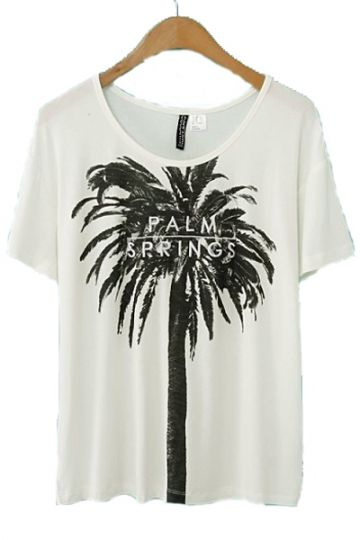 REGISTER ON PERSUNMALL.COM #NEW #prom #heel #shoes #sandals #women #black #beige #red #green #blue #white #pink #purple Coconut Palm Print Loose T-shirt