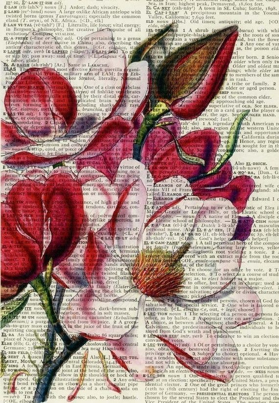 MUST TRY Using old dictionary pages as a background for a print. Gorgeous. I want to try this with sheet music. ☮