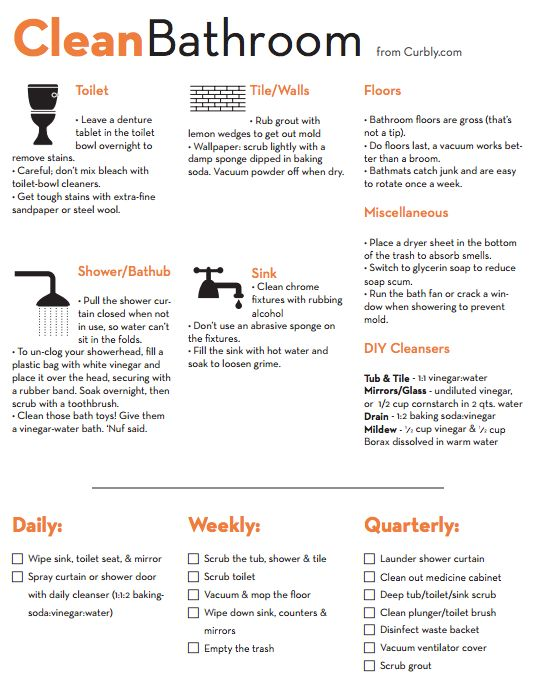 Free Download: Bathroom Cleaning Cheat Sheet and Checklist... I used to be a housekeeper so I'm not really in need of this. But it would be good for teaching children or friends who are moving out on their own for the first time.