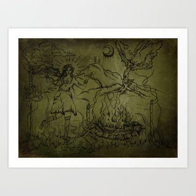 """""""Three of Wands"""" Art Print by Magdalena Sky - $22.88"""