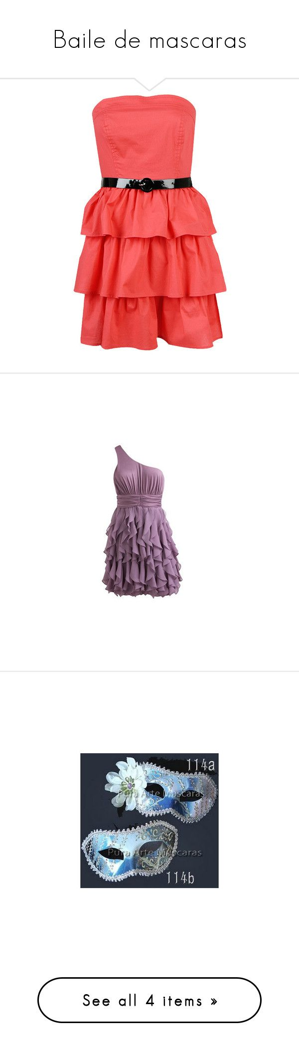 """Baile de mascaras"" by amaya-perez ❤ liked on Polyvore featuring dresses, vestidos, coral, haljine, dressy, short strapless dresses, sexy cocktail dresses, red strapless cocktail dress, sexy short cocktail dresses and red cocktail dress"