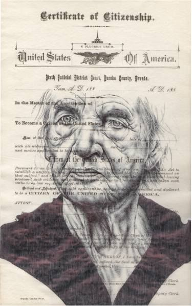 "Saatchi Art Artist Mark Powell; Drawing, ""Bic biro drawing on US citizenship form"" #art"