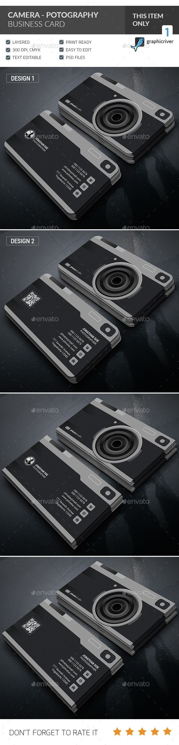 Camera - Photography Business Card — PSD Template More