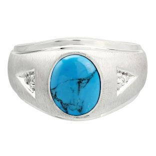 Diamond Cabochon Turquoise Gemstone Men's Sterling Silver Ring Gemologica.com offers a unique selection of mens gemstone and birthstone rings crafted in sterling silver and 10K, 14K and 18K yellow, white and rose gold. We have cool styles including wedding and engagement rings, fashion rings, designer rings, simple stone and promise rings. Our complete jewelry collection of gemstone rings for men can be seen here: www.gemologica.com/mens-gemstone-rings-c-28_46_64.html