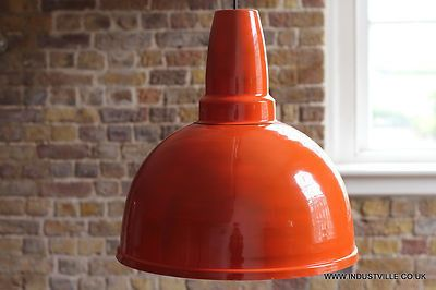 GIANT ORANGE VINTAGE INDUSTRIAL DESIGN METAL LAMP SHADE RESTAURANT PENDANT LIGHT - 42 cm / 16 inch