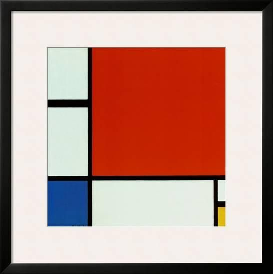 Composition with Red Blue Yellow Framed Art Print by Piet Mondrian at Art.com
