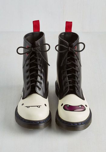 Nightosphere's Looking at You Boot by Dr. Martens - Black, Red, White, Other Print, Statement, Quirky, Best, Lace Up, Ankle, Low, Leather, Halloween