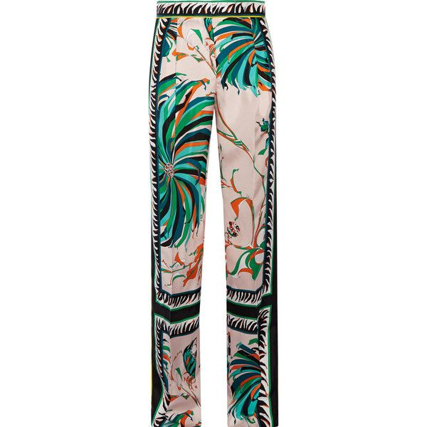Emilio Pucci Printed silk-twill wide-leg pants (£970) ❤ liked on Polyvore featuring pants, pantaloni, tux pants, wide leg pants, stripe pants, striped wide leg pants and colorful tuxedos