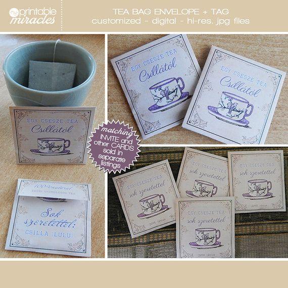 Tea bag favors Vintage printable tea bag by MyPrintableMiracles