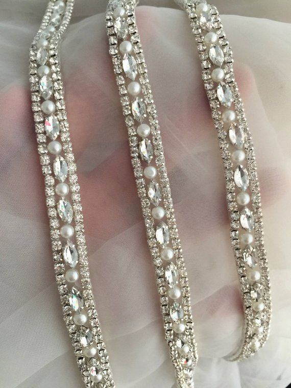 d1a0eb1064d13 1 yard Thin rhinestone and crystal beaded lace trim for wedding belt ...