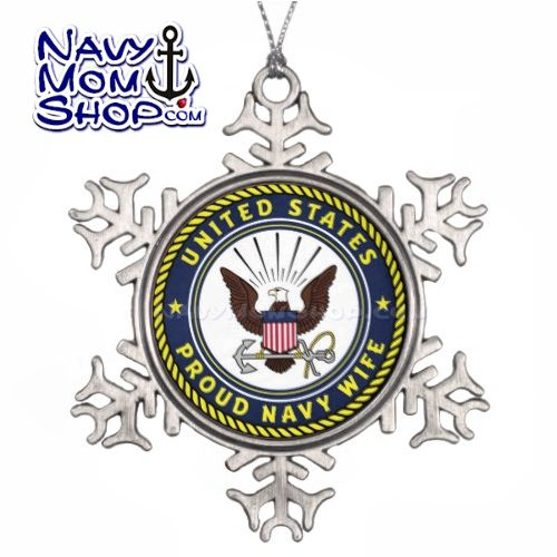 US NAVY WIFE - These Pewter Snowflake Ornaments are Gorgeous!! Proud Navy Wife! - Link: http://art4mil.com/NavyWifeSnowflakeOrni