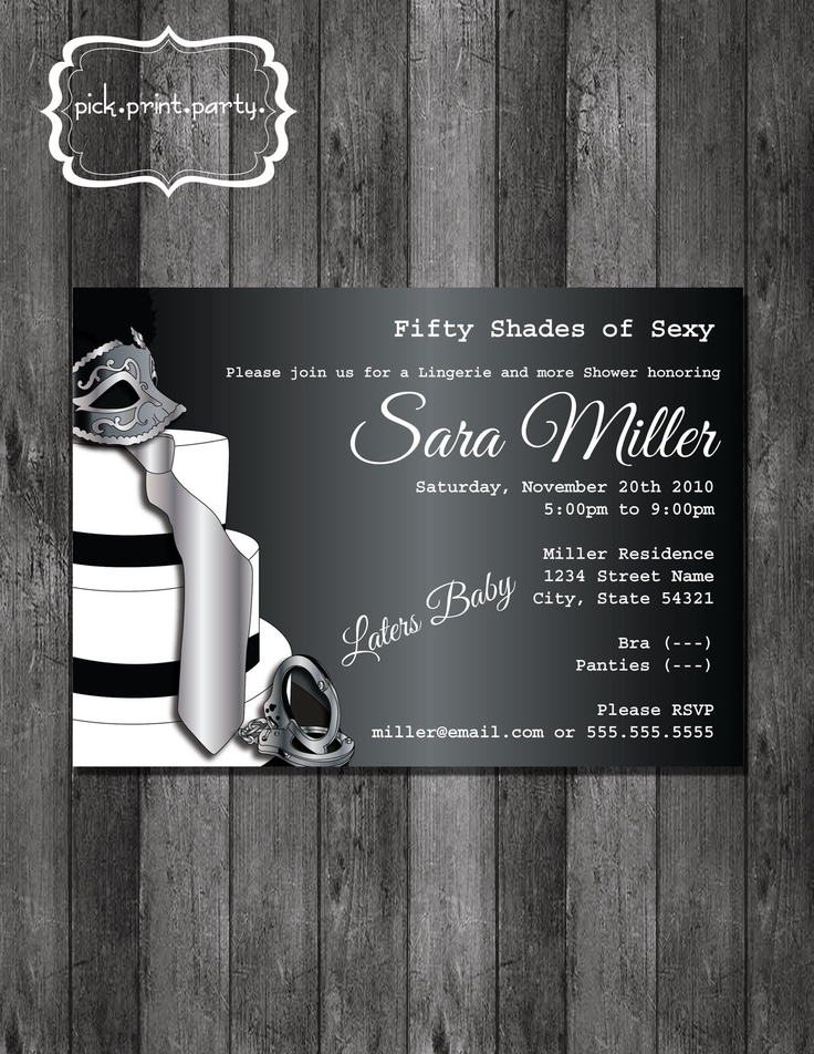 simple diy bridal shower invitations%0A Bridal Shower Lingerie Shower Invitation  Fifty Shades of Sexy  DIY   Printable