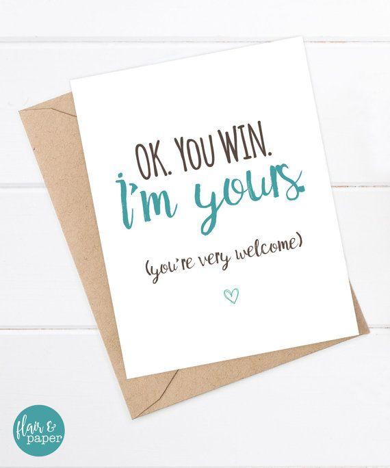 Scheda di compleanno divertente - fidanzato Card - carta divertente ragazza - ti amo card - Snarky Greeting Card solo per divertimento - Ok hai vinto I