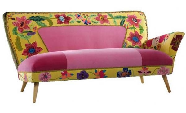 Yellow Rosa by Masutti & Masutti. Vintage chaise with vintage hand  embroidery.