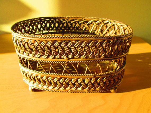 Vintage Brass Woven Wire Basket / Planter by SunriseSunsetVintage