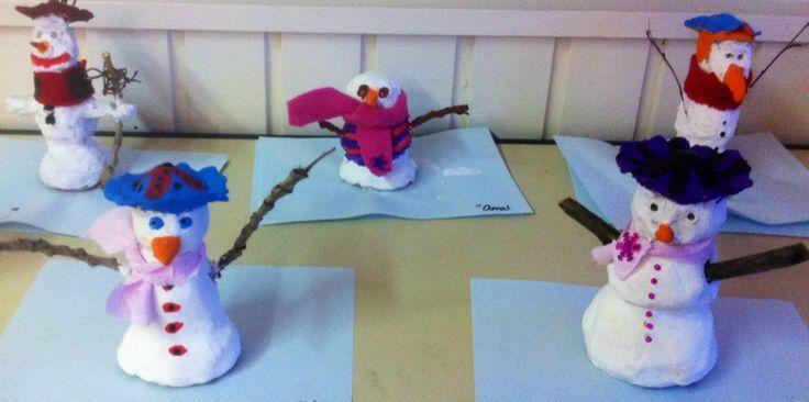 Winter: Sneeuwpop klei, armen van takken of klei, geschilderd, daarna sjaal, knopen toevoegen.