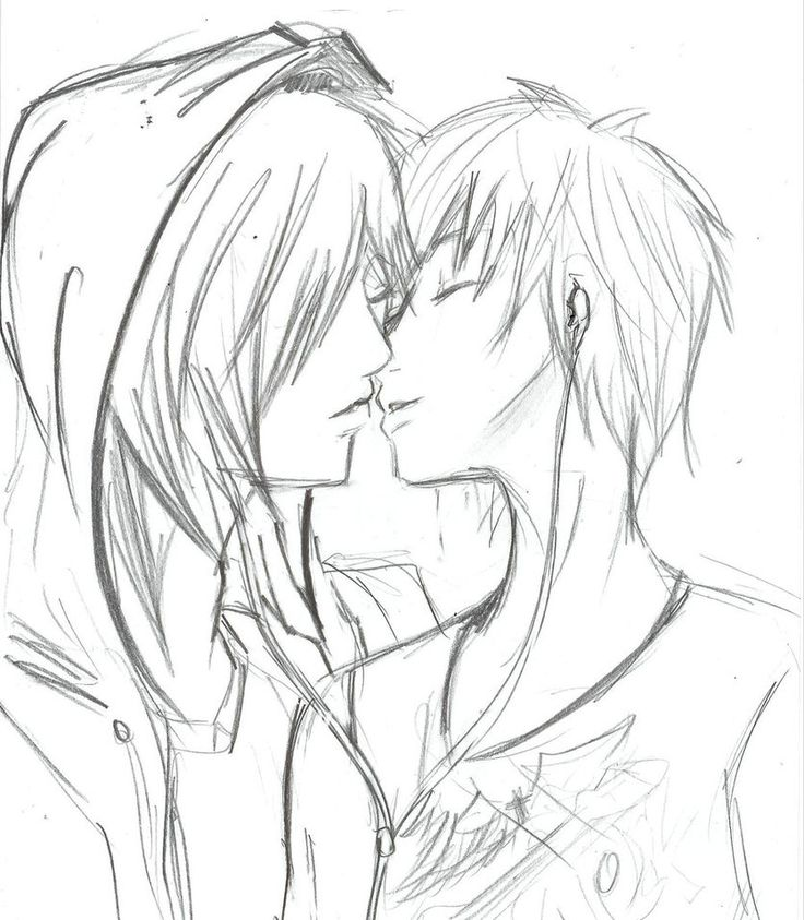 Cute emo drawing of gay couple