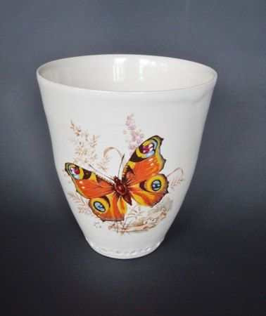 Hand thrown ceramic cup/mug with butterfly by kelverum on Etsy, $32.00