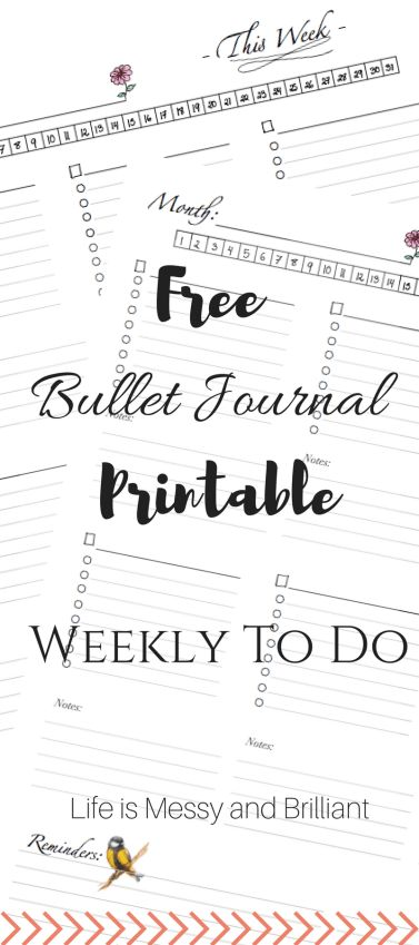 FREE Bullet Journal and Planner Weekly To Do Printable