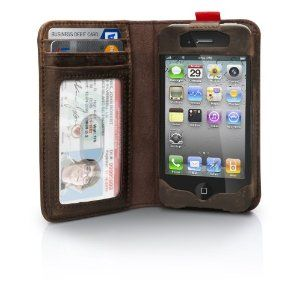 BookBook for iPhone is a wallet and iPhone case rolled into one pocket-sized, vintage book. Open this beautifully designed leather book and you will see a wallet on the left and a slot for your iPhone 4 on the right.