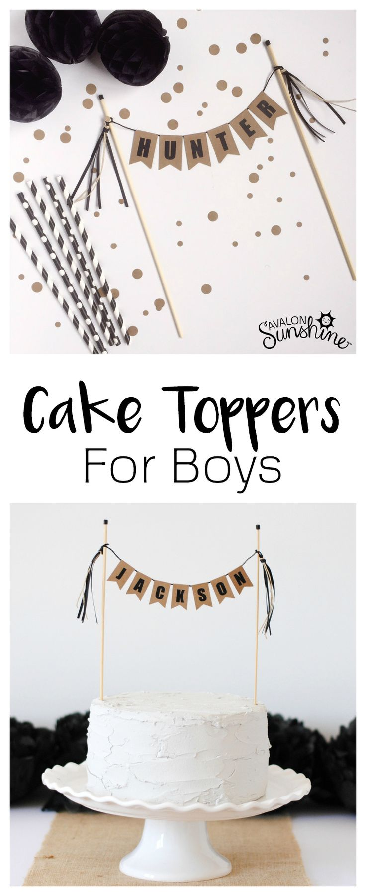 Cake Toppers for Boys can be hard to find. I love this rustic black & kraft topper. I can work for a lumberjack theme and it matches with burlap decor.
