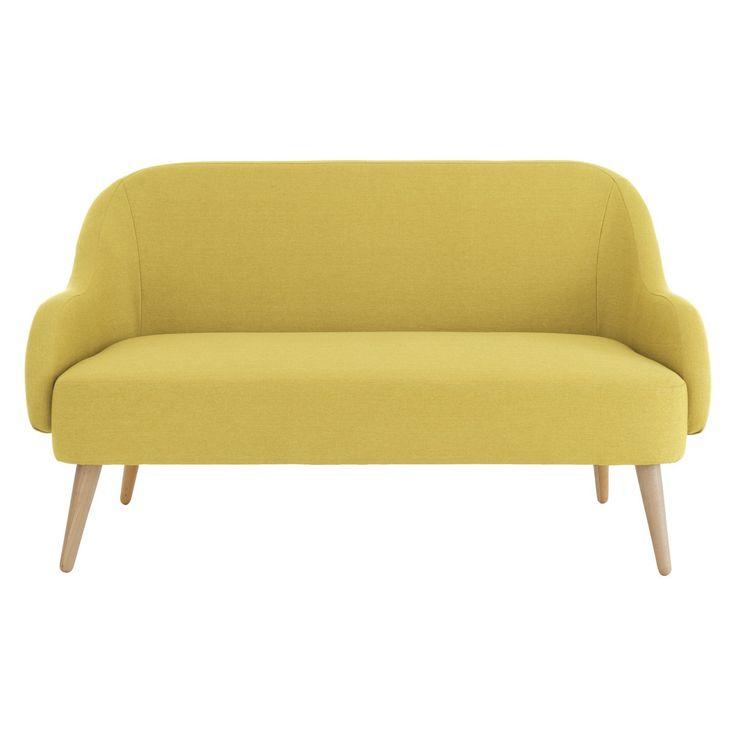 Momo Saffron Yellow Fabric 2 Seater Sofa