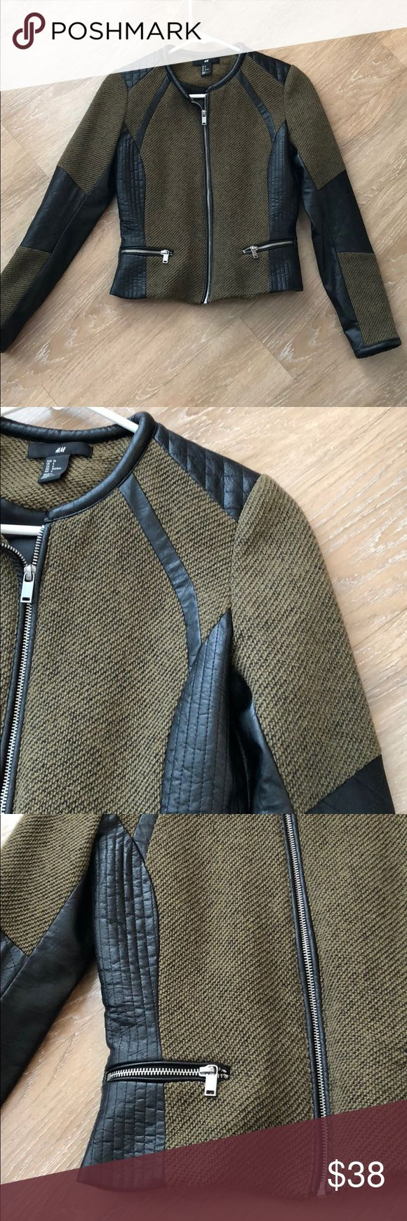 H&M Olive Green and Black Leather Biker Jacket Great
