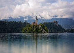 Słowenia, Wyspa, Woda, Kościół, Drzewa