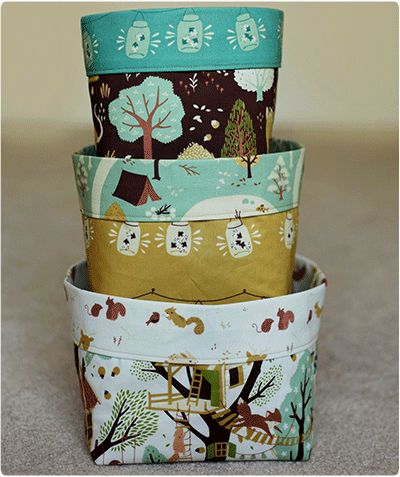 If you are looking for a quilted storage bin pattern instead, look here. Sewing up a couple of household storage bins is a great way to use fabric remnants. Coordinate the fabrics, or mix it up d...